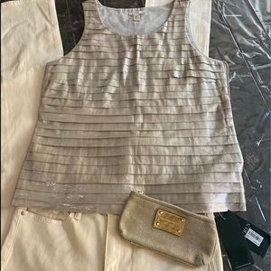J Crew size 8 gold metallic lined layered top